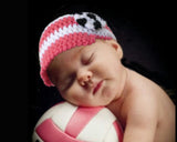Baby Girl Hot Pink White Soccer Newsboy Hat Newborn Photography