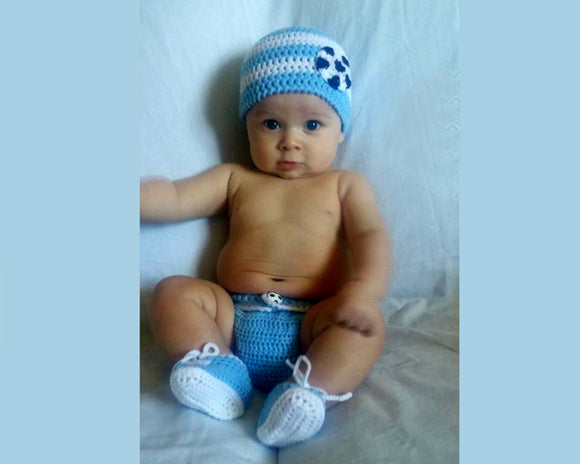 Argentina Soccer Baby Hat Diaper Cover Shoes Blue White
