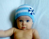 Baby Boy Light Blue White Soccer Beanie Hat