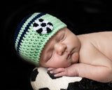 Soccer Baby Boy Crochet Beanie Hat Blue Green Newborn Photography