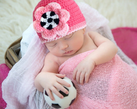 soccer girls baby beanie hat newborn photography