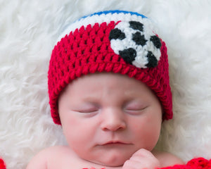 baby USA soccer crochet red white blue hat newborn photography