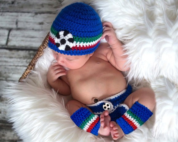 baby crochet soccer hat diaper cover sock newborn photography