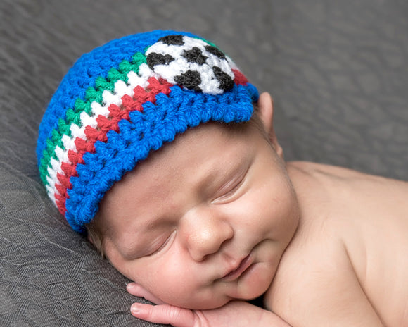 Baby Italy Soccer Royal Blue Green Red White Peaked Hat