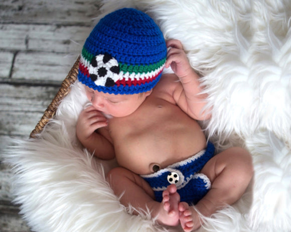 baby crochet soccer hat & diaper italy red white green football photography