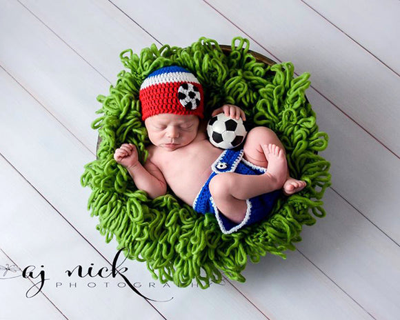 Baby USA Soccer Crochet Hat Diaper Cover Red White Blue Newborn Photography