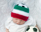 baby crochet soccer beanie italy red white green flag football
