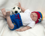 Soccer Baby crochet Colombia Hat and Shorts