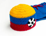 Soccer Baby crochet Columbia Hat and Shorts