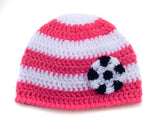 Baby Girl Hot Pink White Crocheted Soccer