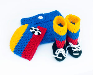 Baby Colombia Soccer Crochet Outfit