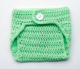 Baby Girl Crocheted Ribbon Diaper Cover Mint Green
