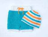 Crochet Baby Bathing Suit Shorts & Hat Nautical Photo Prop