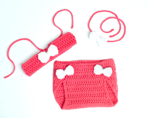 Crochet Baby Girl Bikini Halter Top Diaper Cover & Headband Pink