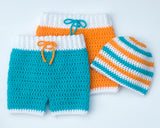 Baby Boy Crochet Shorts & Beanie Hat Surfing Nautical Beach