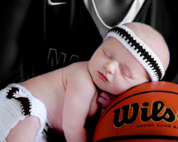 Black White Baby Basketball Headband & Shorts Photography