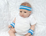 Crochet Baby Boy Blue White Tennis Basketball Headband Wrist Bands