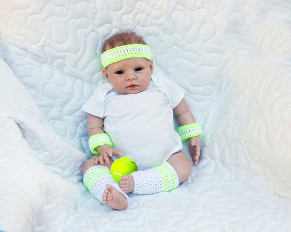 Baby Tennis Outfit Headband Wrist Bands Leg Warmers