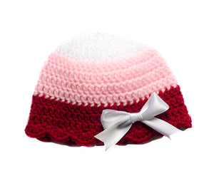 Baby Girl Crocheted Ribbon Hat Red