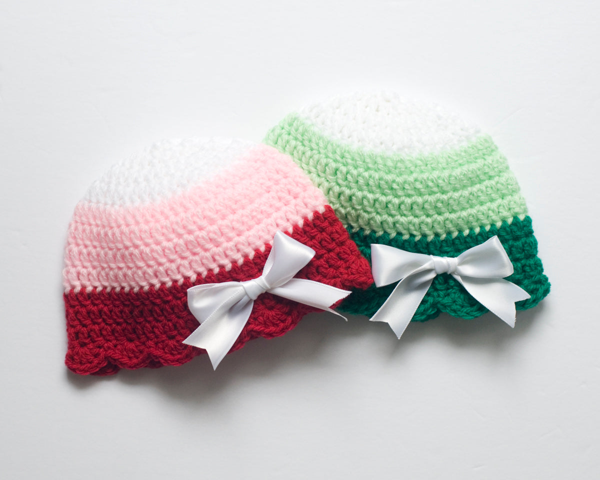 5ca6bea4df8729 Baby Girl Crocheted Ribbon Hat Red or Green – Grandmabilt