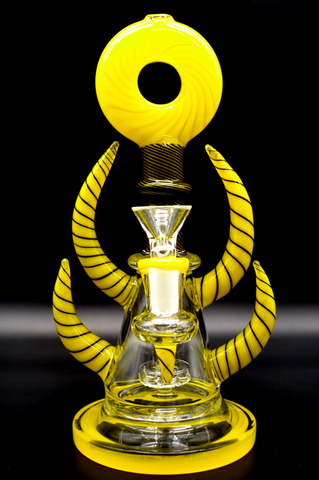 Propahphernalia Yellow/Black Pyramid Eye Horn Bong