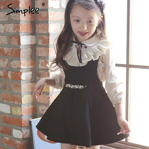 9636c3d06b Simplee Girls Princess Kids Dress Cotton Suspenders Pleated New Autumn Wind  School Dress Clothing Solid Black