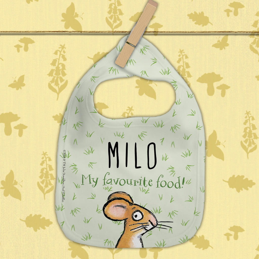 "Gruffalo ""Favourite Food!"" Personalised Baby Bib (Lifestyle)"