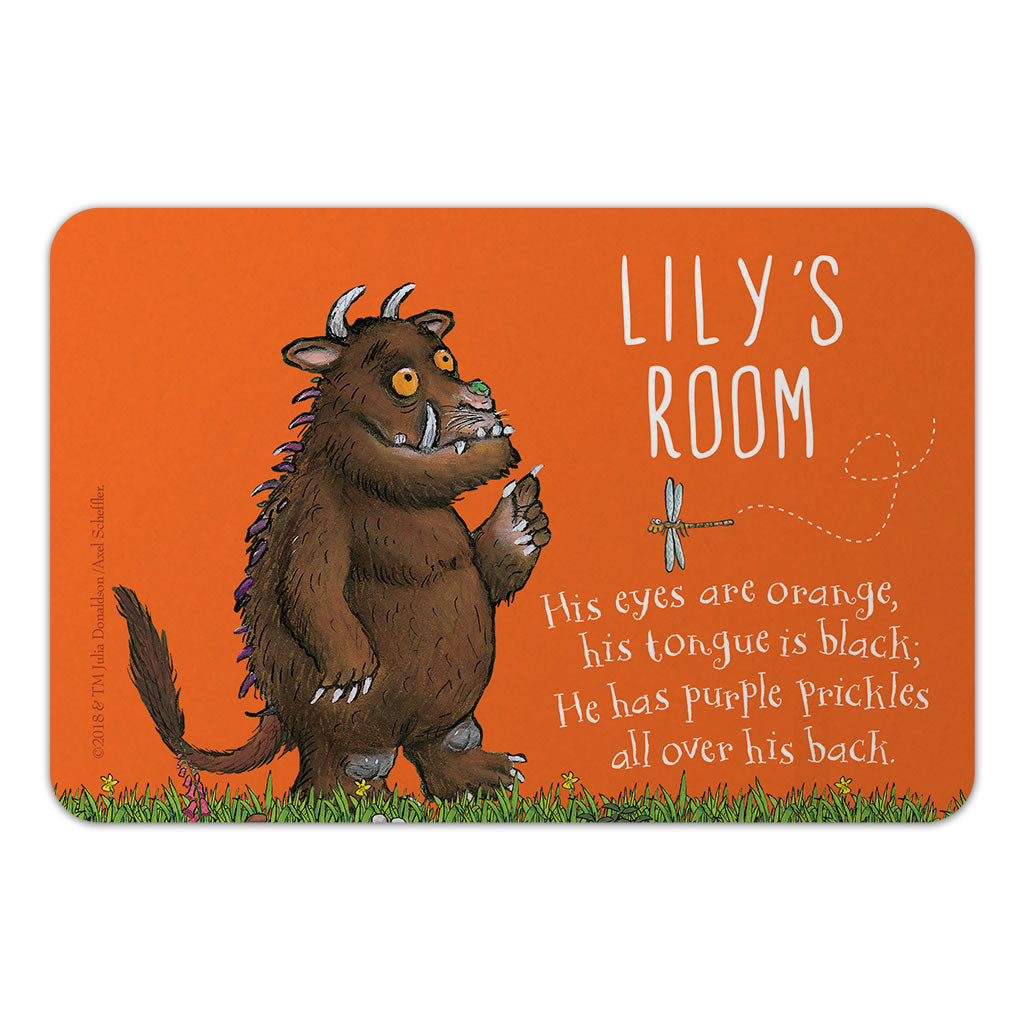 Personalised Orange Gruffalo Personalised Door Plaque