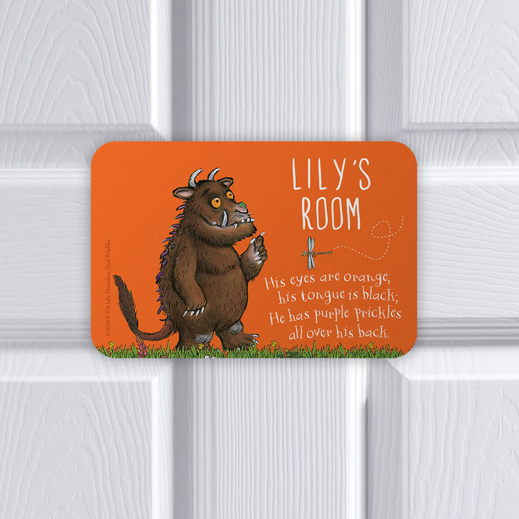 Personalised Orange Gruffalo Personalised Door Plaque (Lifestyle)
