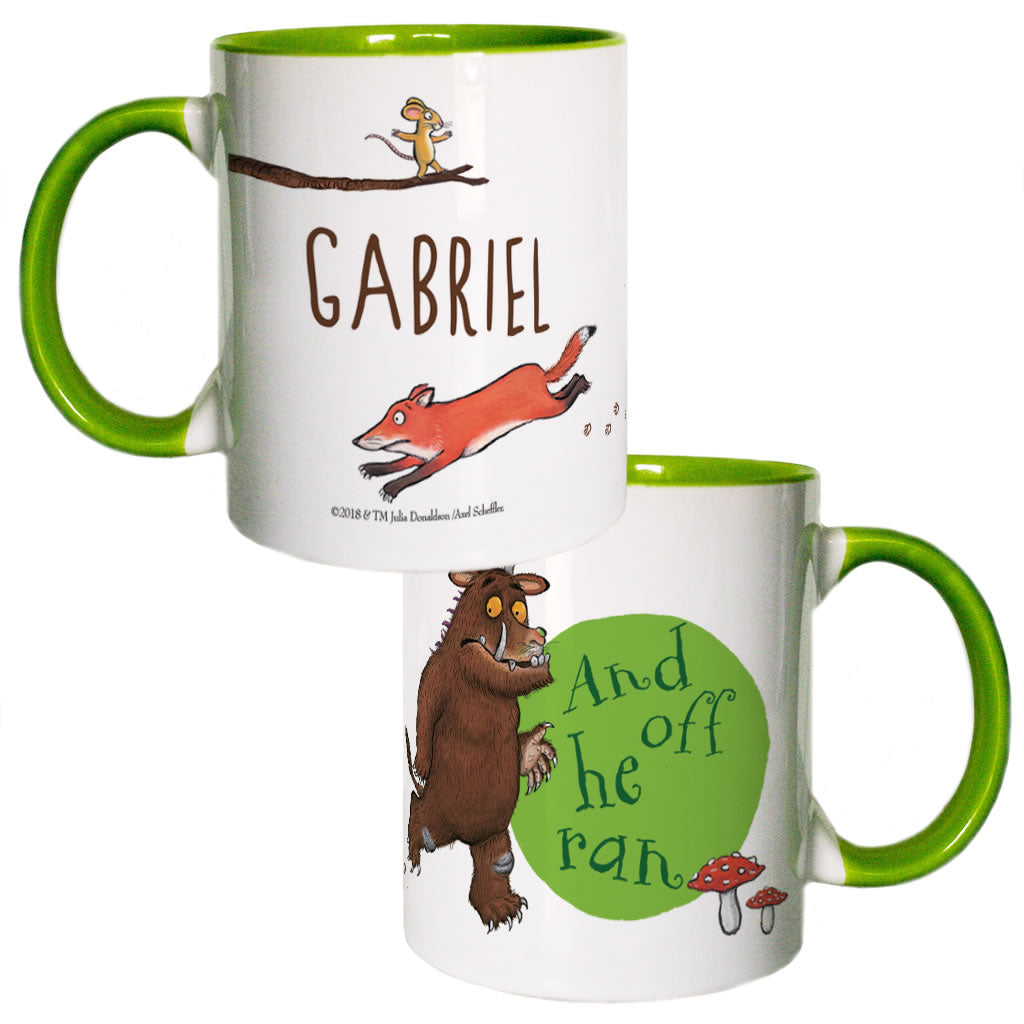 Green Fox and Gruffalo Personalised Coloured Insert Mug
