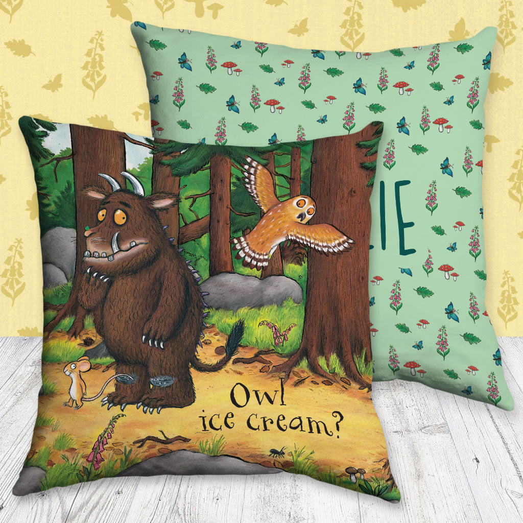 Owl Icecream Gruffalo Personalised Cushion (Lifestyle)