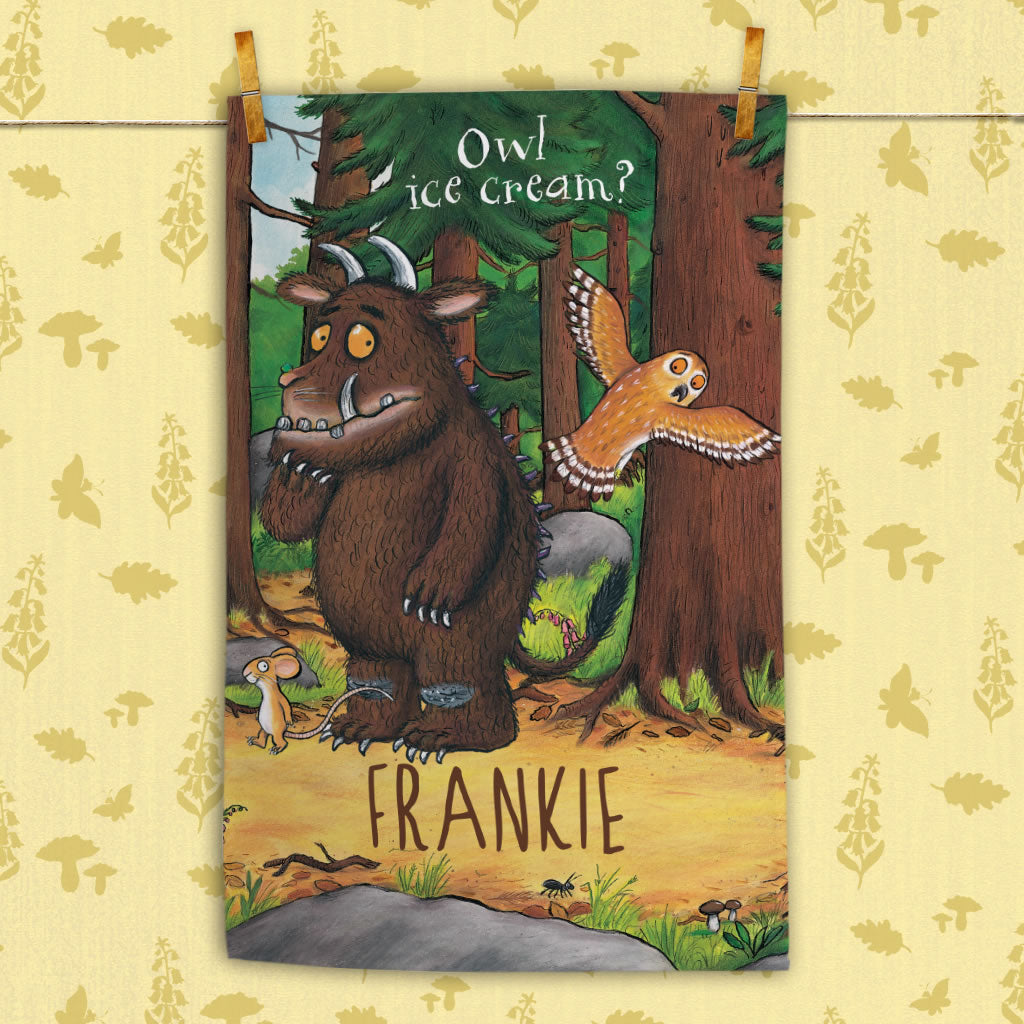 Personalised Gruffalo and Owl Personalised Tea Towel (Lifestyle)