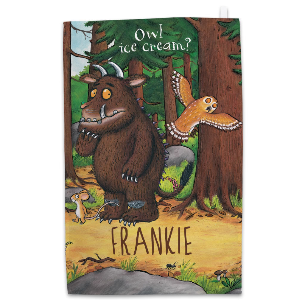 Personalised Gruffalo and Owl Personalised Tea Towel