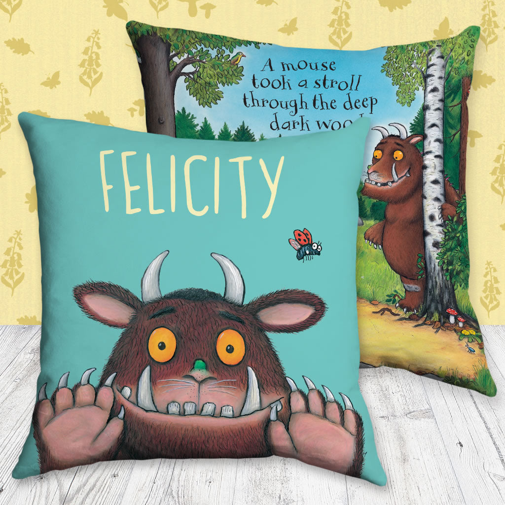 Blue Gruffalo Personalised Cushion (Lifestyle)