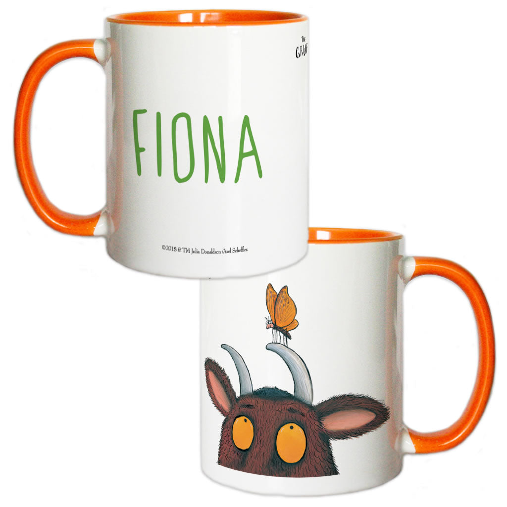 Orange Gruffalo and Butterfly Personalised Coloured Insert Mug