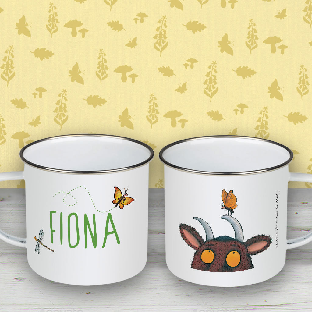 Gruffalo and Butterfly Personalised Enamel Mug (Lifestyle)