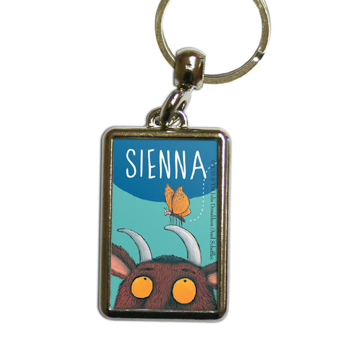 Blue Gruffalo Personalised Metal Keyring