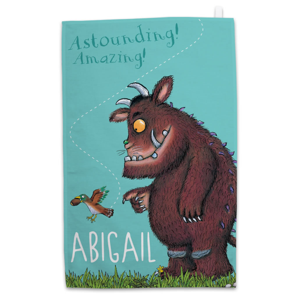 "Personalised ""Amazing!"" Gruffalo Personalised Tea Towel"