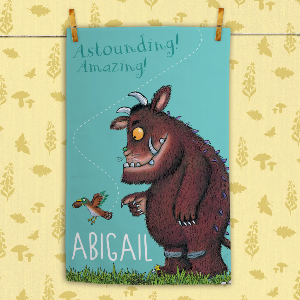 "Personalised ""Amazing!"" Gruffalo Personalised Tea Towel (Lifestyle)"