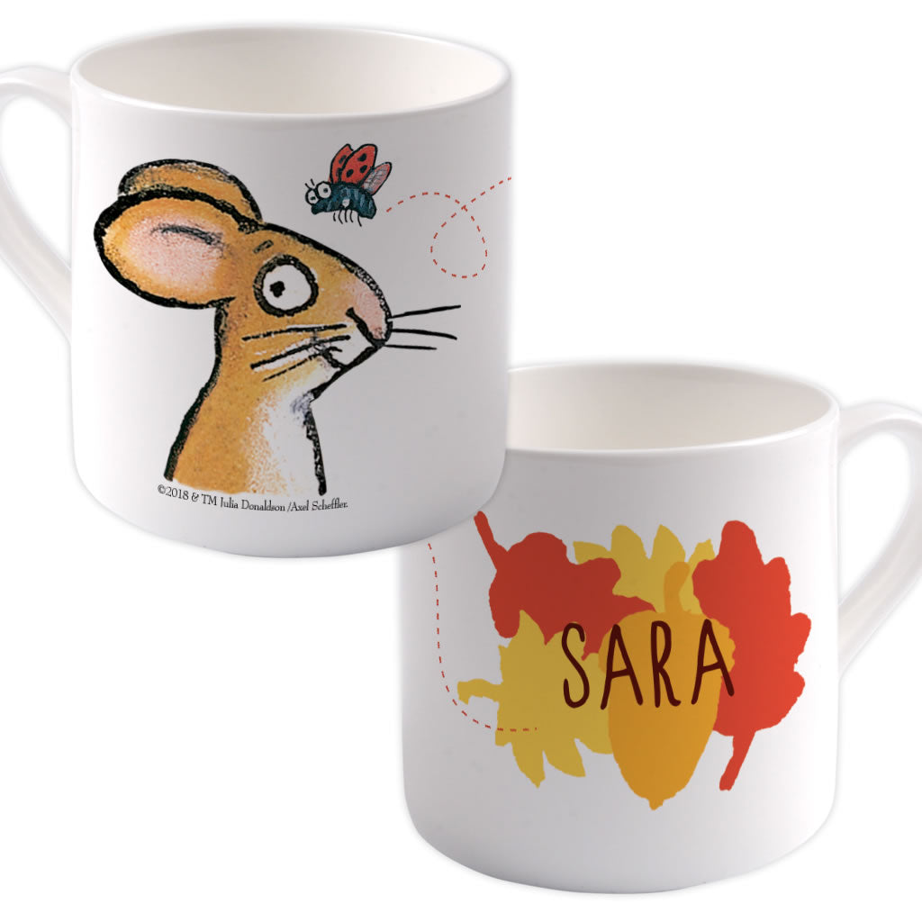 Red/ Orange Mouse Personalised Large Bone China Mug