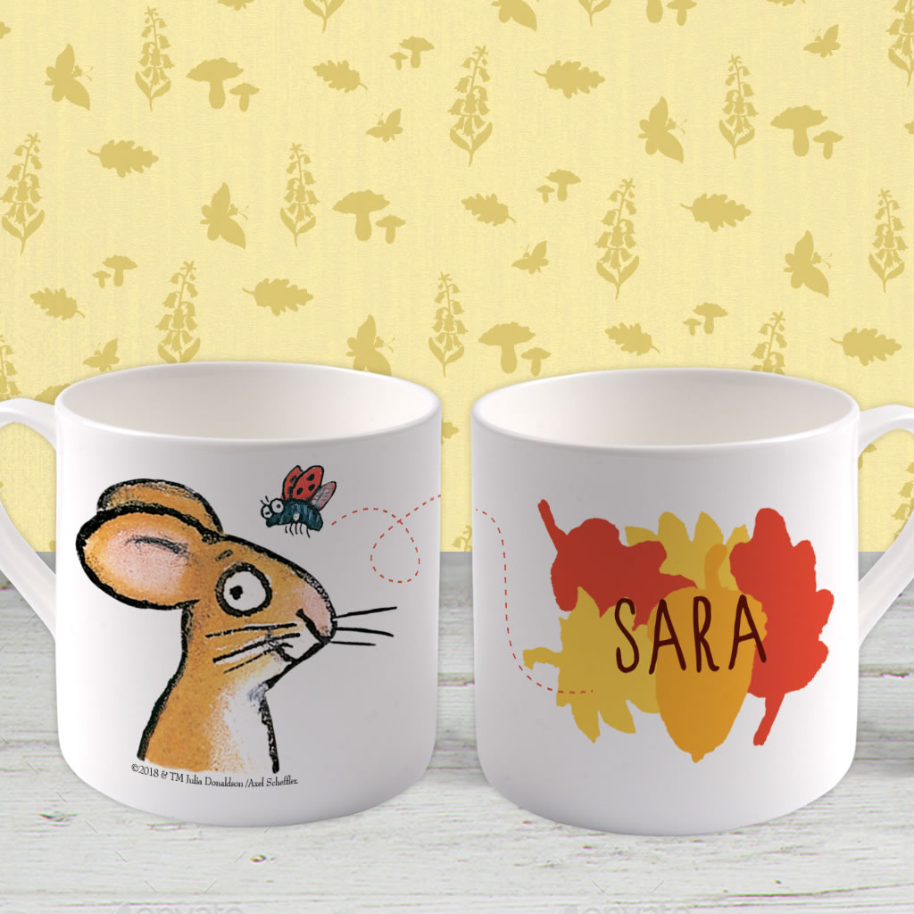 Red/ Orange Mouse Personalised Large Bone China Mug (Lifestyle)