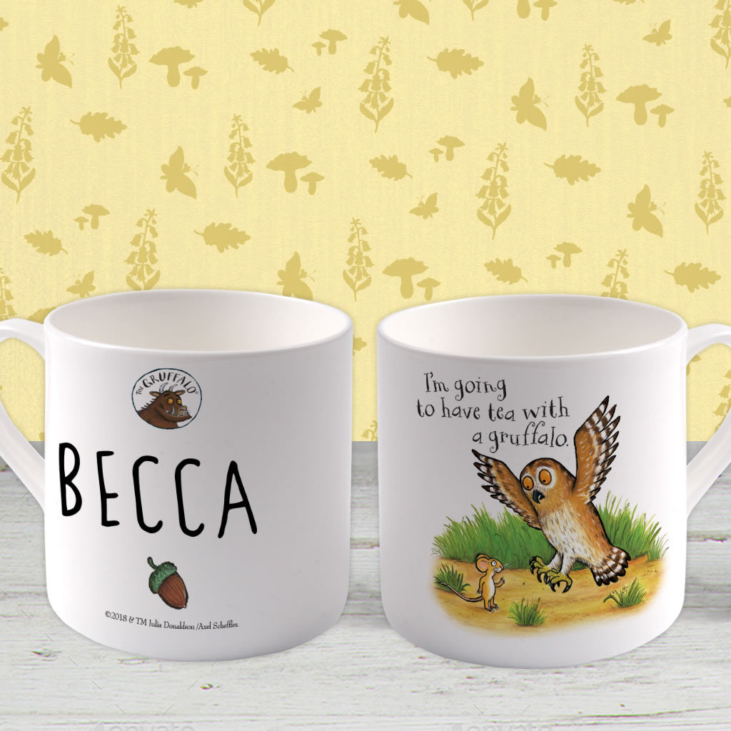 Owl Personalised Large Bone China Mug (Lifestyle)