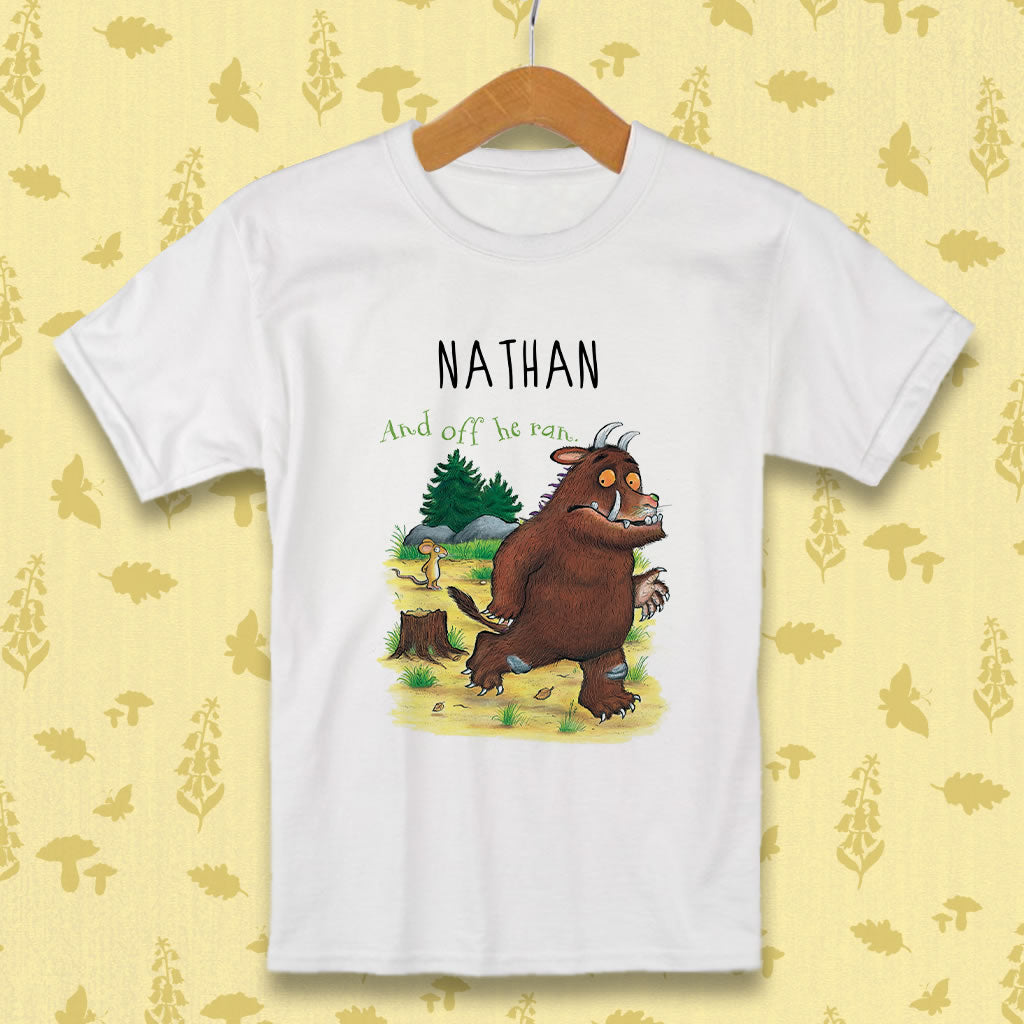 "Gruffalo ""off he ran"" Personalised T-shirt"
