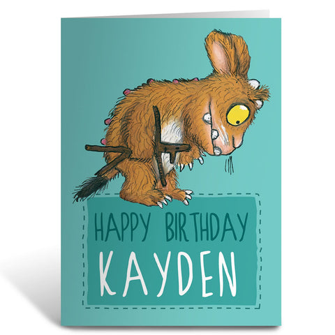 Blue Gruffalo's Child Personalised Greeting Card