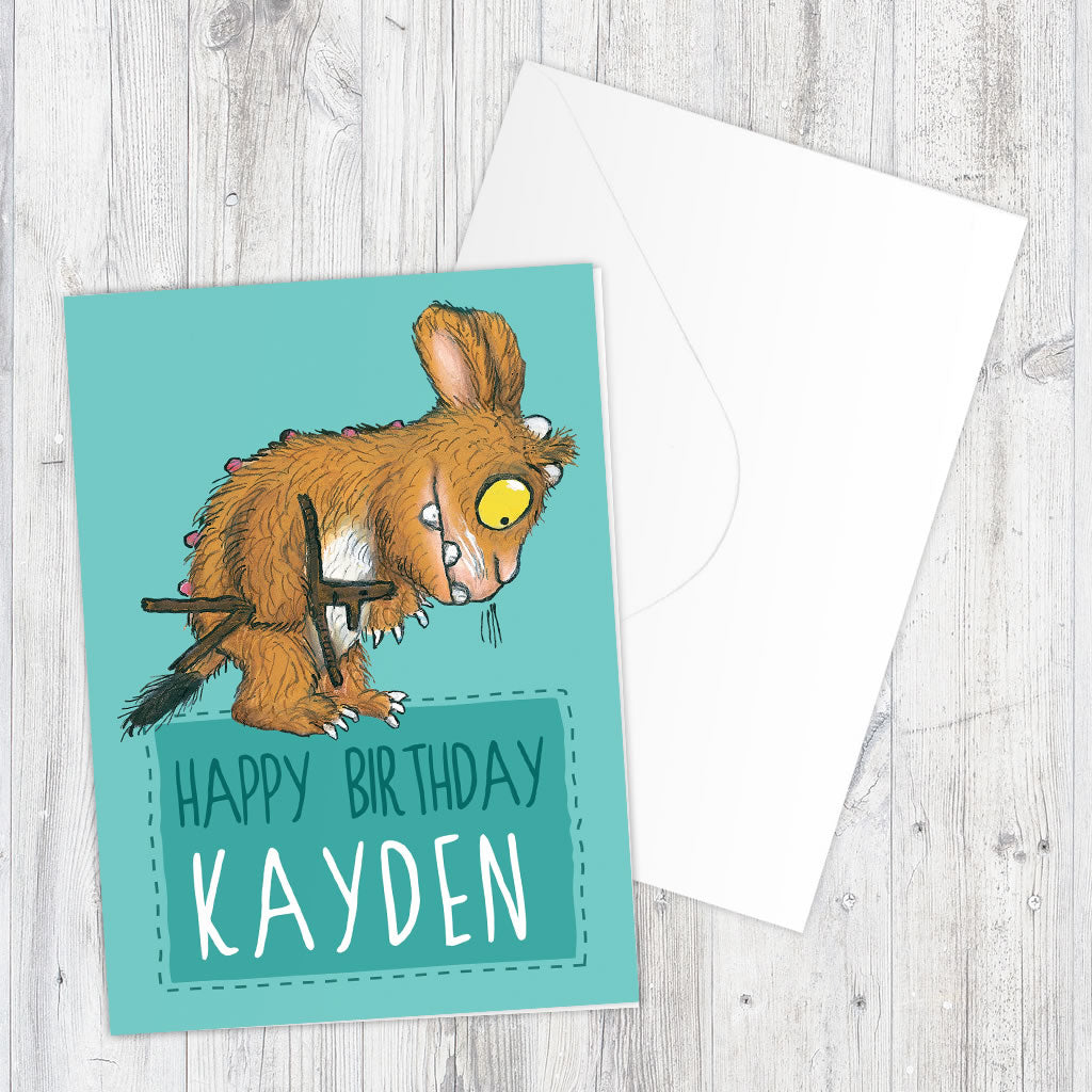 Blue Gruffalo's Child Personalised Greeting Card (Lifestyle)