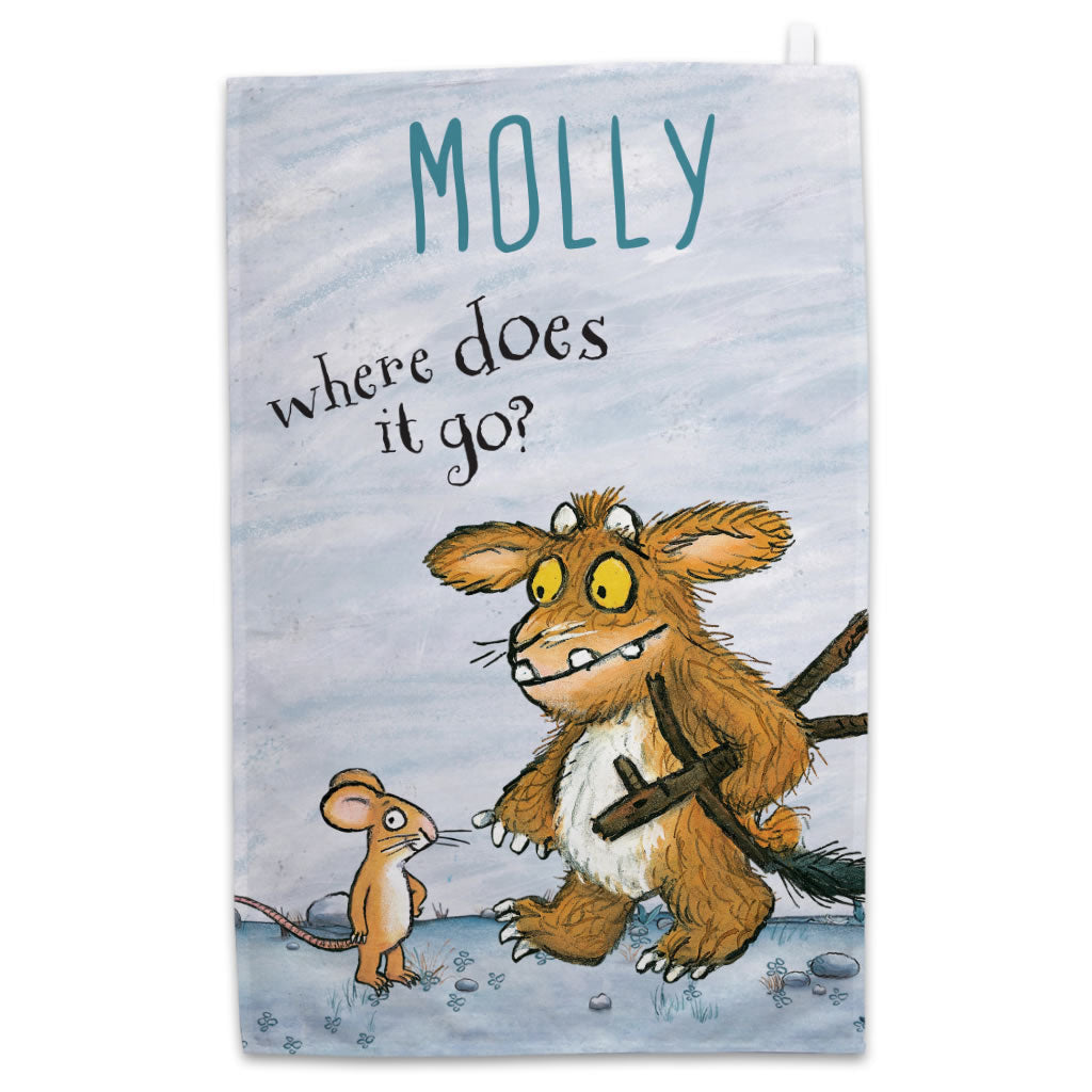 Personalised Gruffalo's Child and Mouse Personalised Tea Towel