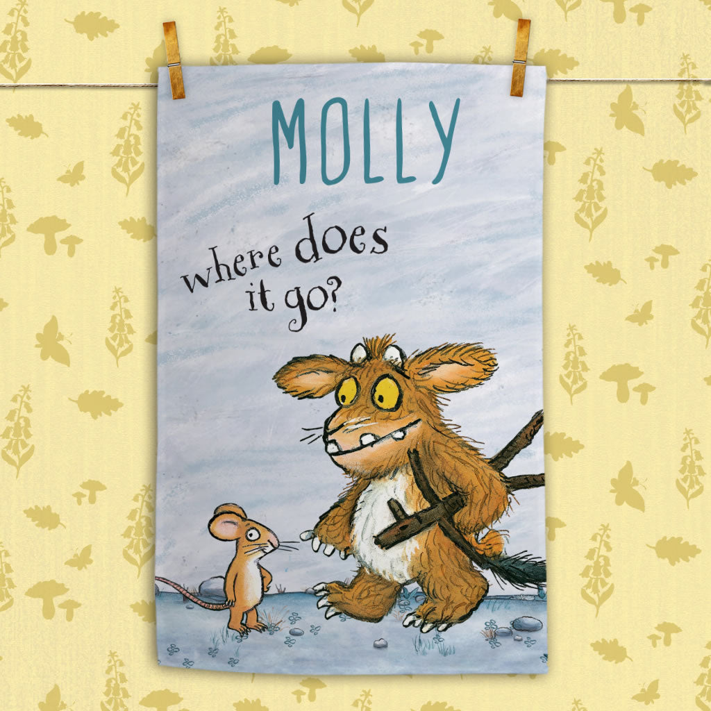 Personalised Gruffalo's Child and Mouse Personalised Tea Towel (Lifestyle)