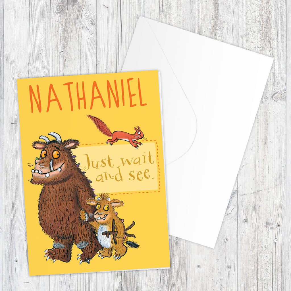Yellow Gruffalo Family Personalised Greeting Card (Lifestyle)