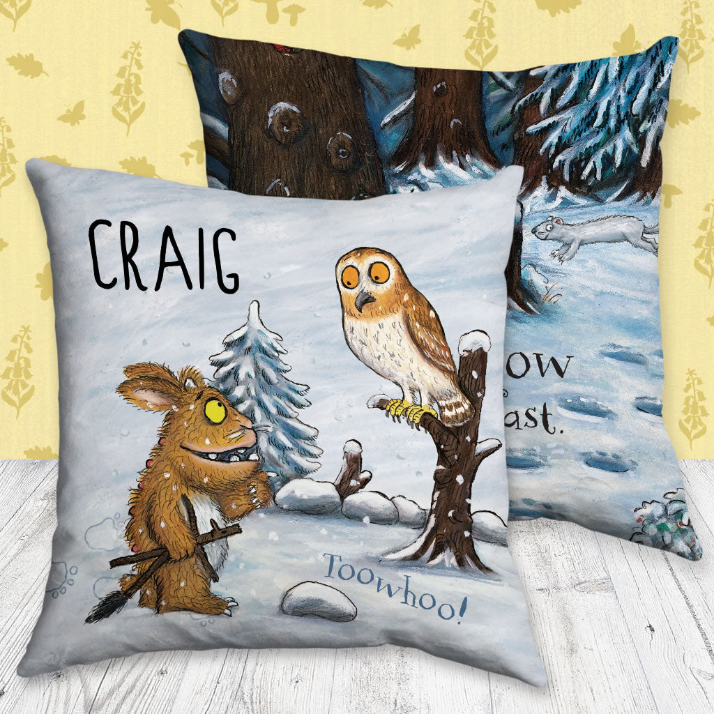 Gruffalo's Child and Owl Personalised Cushion (Lifestyle)
