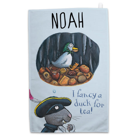 "Personalised ""Duck for tea"" Highway Rat Personalised Tea Towel"